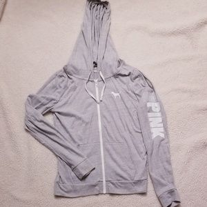 VS PINK gray zip up hoodie